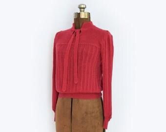 1970s 1980s Raspberry Tie Neck Knit Sweater with Puff Sleeves