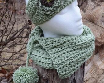 Headband and cowl set - sage green