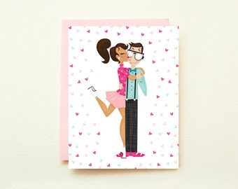 Nerd Love - Interracial Couple Valentines Day Card