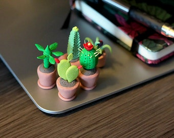 Cactus Figurines Set (3 Cactus) Tiny Polymer Clay Plants Unique Gift Idea Little Garden Set Miniature Cactus set