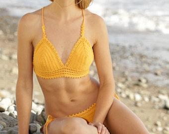 Handmade cotton crochet bikini, cotton bath suit, swimsuit, swimwear, crochet, triangle, crochet bikini, beachwear, crochet swimsuit.