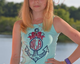 Personalized Girl's Tank Top with Coral Anchor