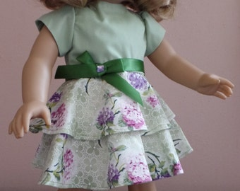 Doll clothes, American Girl doll clothes, tier dress, two tone green top and floral bottom includes shoes HANDMADE