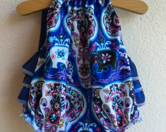Singing the Blues Ruffled Baby Girl Romper