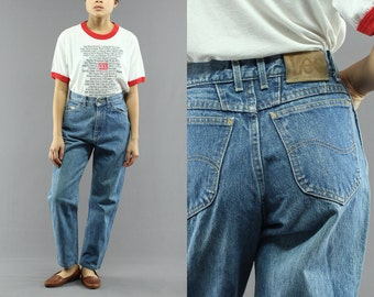 Lee Tapered Jeans Regular Classic Wash Women's High Waist Boyfriend / Mom Jeans Size 7 Petite Made in USA 80's Vintage