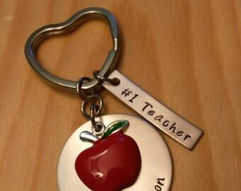 Hand Stamped Teacher Keychain - Teacher Gifts - #1 Teacher - Personalized Teacher Gift - Best Teacher Ever