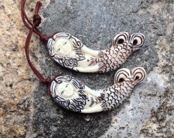 Carved Bone Mermaid Pendant or Bead - 1 3/4 Inch - 22 mm