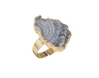 Gold Dipped Amethyst Druzy Ring   Adjustable