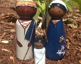 CUSTOM multi-racial Nativity Set (3-10 piece)