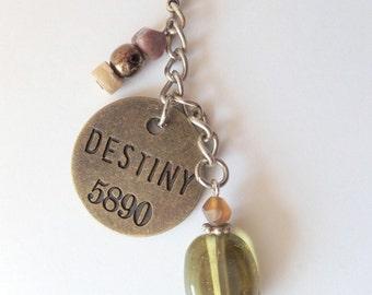 Destiny purse zipper jewelry charm / car accessory / key ring fob / dog collar charm, bronze stamp numbers 5890 charm, destiny, USA shipper