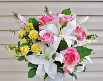 Mid Spring Morning - Home Decor, Silk Floral Arrangement