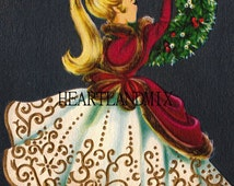 Girl Hanging Xmas Wreath Vintage Christmas Image
