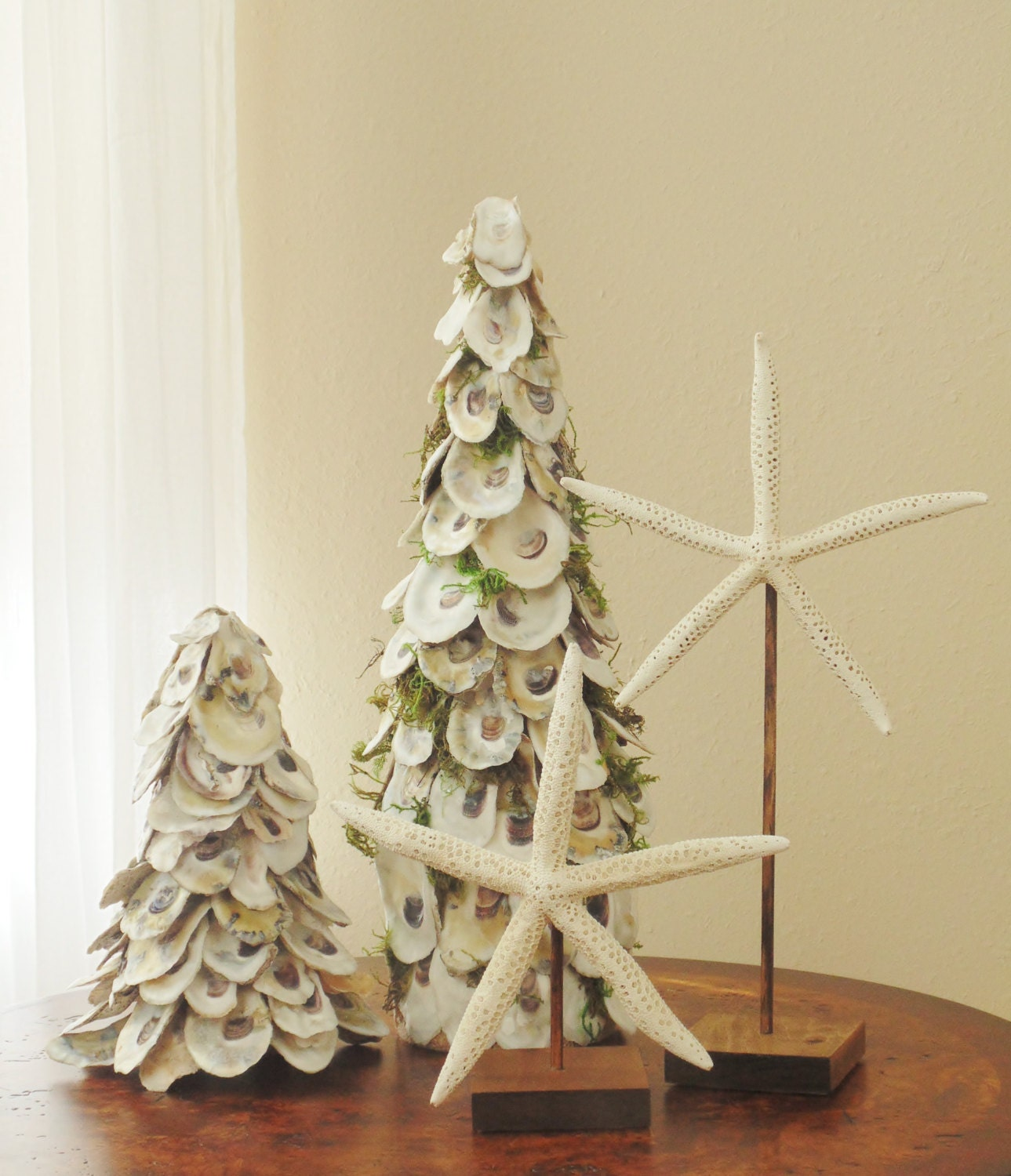 Oyster shells oyster shell home decor oyster tree farmhouse for Shells decorations home
