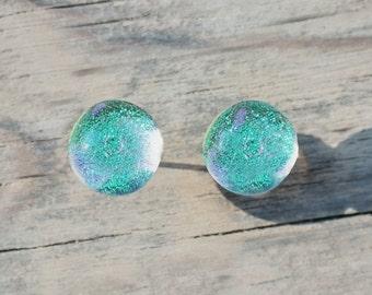 Mint green glass stud earrings - Aqua turquoise stud earrings - post earrings - dichroic earrings - tiny stud earrings - bridesmaid gift