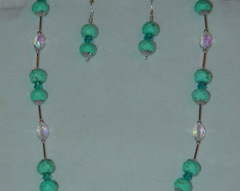 Blue Chinese Turquoise Necklace & Earrings Set