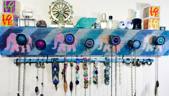 Necklace holder wall hanging storage /reclaimed wood decor/ jewelry organizer colorful stenciled elephants 7 knobs 2 hooks & bracelet bar