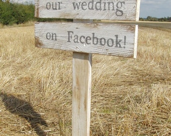 Wooden Wedding Sign Reclaimed Wood Painted Waxed White Rustic Country Farm Festival