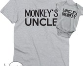 Matching Uncle Nephew or Niece Shirts Tees T-shirt Fathers Day Gift Idea Mens Infant Baby Shower Toddler Monkey's Uncle Uncle to be Brother