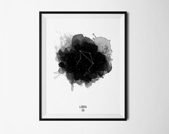 Libra Constellation, Libra zodiac, Zodiac Constellation, Stars constellation, Astronomy Watercolor, Printable poster, Digital print
