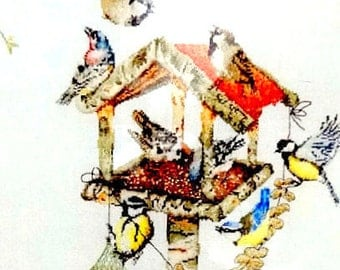 45%OFF//CROSS STITCH Kits.// by Thea Gouverneur. A  Cross Stitch Kit of a Bird feeder and  Birds.   //Was (135.00 Dollars) Now!!