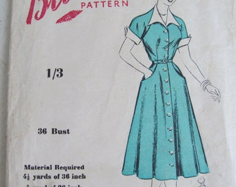 """True vintage 1950s UNUSED BLACKMORE sewing pattern~Fabulous frock~36"""" Bust~Fifties chic! (BM8359))"""