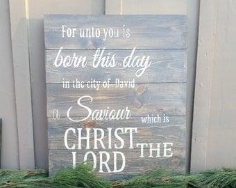 Christmas home decor, Luke 2:11 wood sign