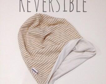 SALE- Oatmeal/Grey/White Stripe REVERSIBLE Slouchy Beanie Hat