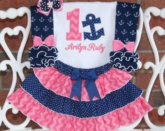 4 pc. Girls Nautical Birthday Outfit! Baby Girl Anchor First Birthday Outfit! 1st birthday outfit baby girl/Navy and pink nautical outfit
