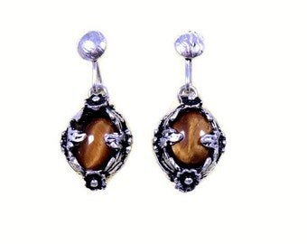 Vintage sterling silver tiger's eye earrings, tiger eye drop earrings, floral ear rings, flower design, oval stones, brown gemstone, Ibrikci