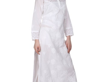 Ladies kurta  Lucknow White  ethnic  Chikankari Hand Embroidery kurta/Kurtis/Top/Tunic  for summer  wear women/girls  salwar Multiple Sizes