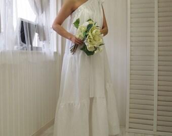 Goddess wedding dress,beach wedding dress,cotton wedding dress,white maxi dress,simple wedding dress,casual wedding dress,cotton maxi dress