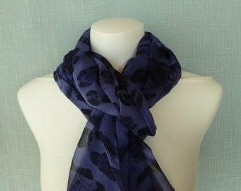 Navy/Indigo Crinkle Silk Scarf