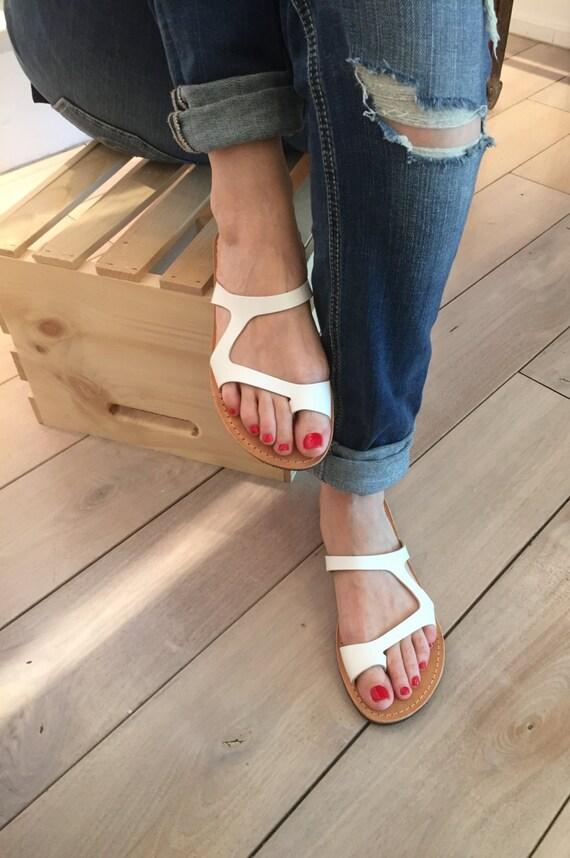 Greek flip flops for women white handmade leather sandals handmade