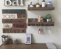"24"" Rustic Wood Wine Rack Shelf & Glass Holder Organizer Unique"