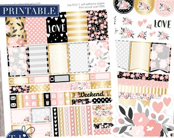 Printable stickers for the Happy Planner. Gold, pink, black floral weekly kit. Printable art for the planner.