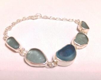 Teal Blue Five Piece English Sea Glass Sterling Bracelet