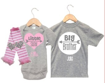 Personalized Big Brother Shirt, Little Sister Big Brother Outfits, Matching Big Brother Little Sister, Sibling Shirts, Sibling Outfits