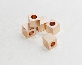 5 Pcs 8x8mm Rose Gold Cube Beads, Square Tubes, Tube Beads, Cube Beads, Rose Gold Cube Beads , ROSE4