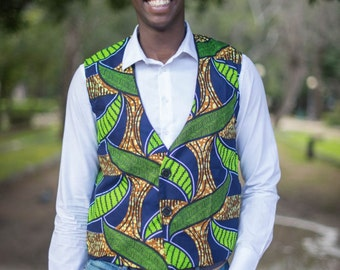 Gilet uomo in Stoffa Africana / Gilet for man in African fabric