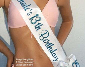 13 Birthday Sash, Sweet 16 Sash, Sweet Sixteen Birthday, Trim-Bling-Shoulder Zazzle and Bows Available FREE PERSONALIZATION By Sashanation