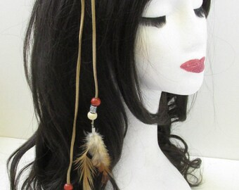 Native American Red Indian Feather Headdress Headband Brown Boho War Bonnet V50