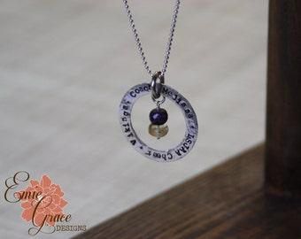 Sterling Silver Washer Necklace, Personalized Necklace, Message Jewelry, Birthstone Necklace, Hand Stamped