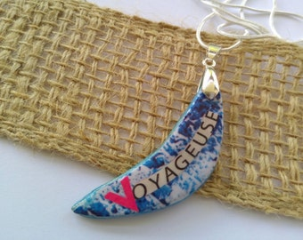 Pendant necklace  Half moon pendant  Collage word pendant  Voyageuse  blue handmade pendant   necklace and moon pendant