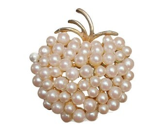 Pearl Brooch Pin Gold Tone Torino Imitation Faux Pearl Cluster Vintage Jewelry Costume Jewelry Signed Jewelry