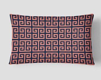 Coral Navy Pillow, Pattern Lumbar Pillow, Geometric Long Cushion, 14x20 Cushion Cover, Decorative Pillow, Throw PIllow, Cushion and Insert