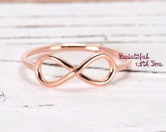 Dainty  Infinity Ring, Infinity Ring Rose Gold, Rose Gold Ring, Rose Gold Engagement Ring, Rose Gold Plated Sterling Silver Promise Ring