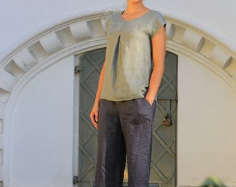 Linen blouse. Linen top / Natural linen blouse / Linen shirt / Loose linen blouse / Flax summer shirt