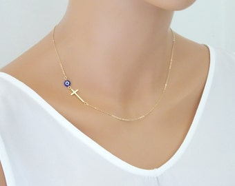 Tiny Evil eye necklace, Sideways Cross necklace, dainty Gold fill chain, Mini Evil Eye Necklace, Evil Eye Protection Jewelry
