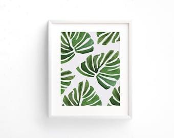 Banana Leaf Print, Digital Print, Banana Leaf Art, Watercolor Banana Leaves Print, Digital Download, Banana Leaf Wall Art, Wall Prints, Most