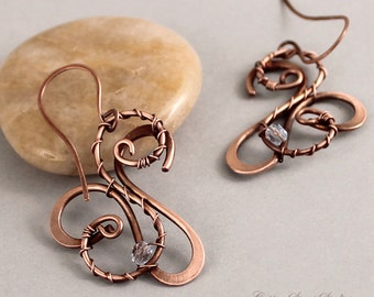 Wire Wrapped Earrings, Artisan Jewelry, Copper Earrings Blue Crystals, Wire Earrings, Metal Earrings, Handmade Copper Jewelry, Wire Jewelry